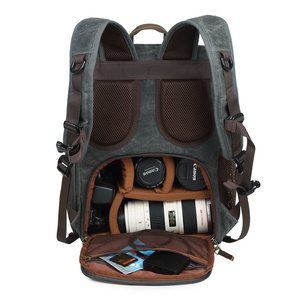 Image 1 - Batik Canvas Photography Camera Backpack Tripod Bag Padded Water resistant Lens Case for Nikon/Canon/Sony SLR Camera Accessories