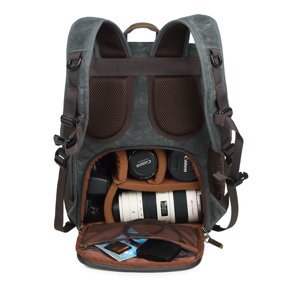 Batik toile + cuir sac Photo Vintage extérieur voyage sac à dos photographie rembourré sac pour appareil Photo dslr pour appareil Photo/objectif/trépied/ordinateur portable