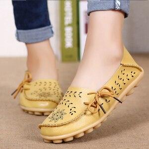 كبير حجم 34-44 2018 الربيع النساء الشقق أحذية النساء جلد طبيعي الشقق السيدات الأحذية الإناث انقطاع الانزلاق على الباليه شقة المتسكعون