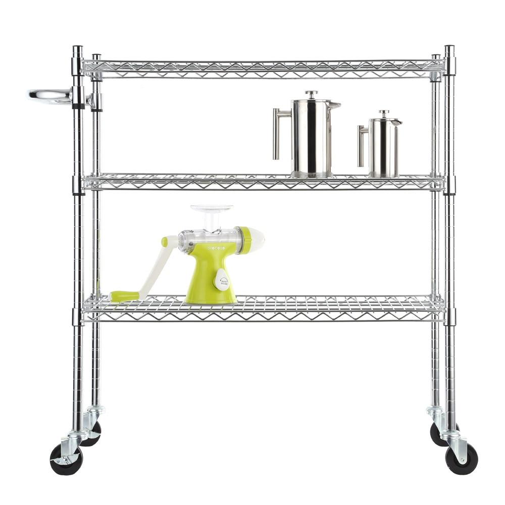 3 Tier Metal Mesh Rolling Cart Space Saving Storage Rack