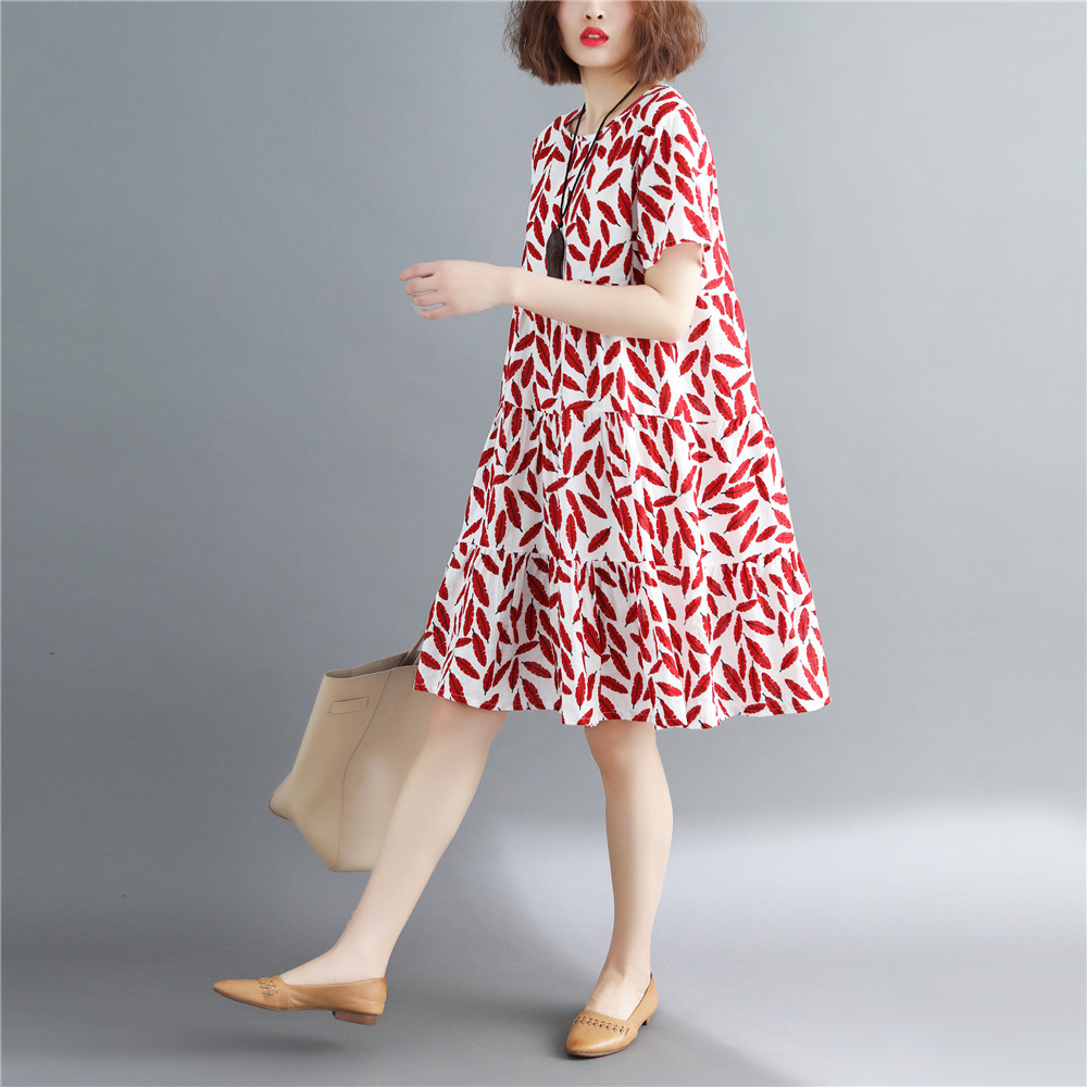 2020 Red Women Vintage Cheongsam Flower Print Qipao Lace Knee Length Dress Party Gown Chinese Style Evening Dresses Qi Pao
