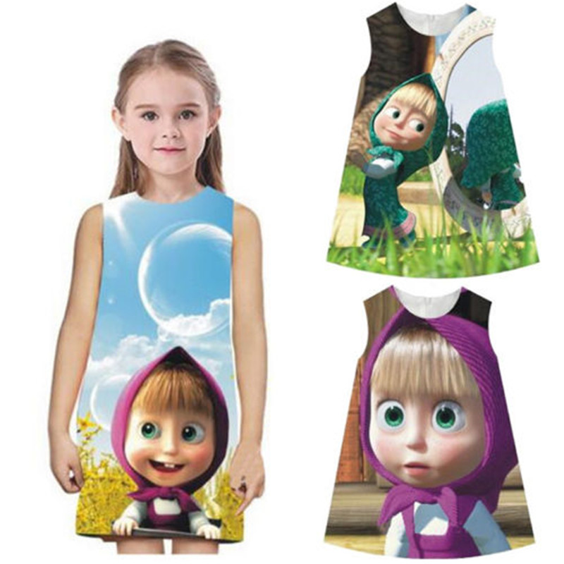 Kids Cartoon Dress 2016 Baby Girls Masha And The Bear Party Dress Vest Summer Clothes