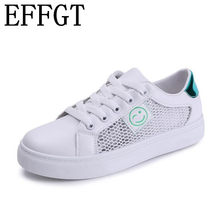 b44fa63170 EFFGT 2018 sapato Branco Outono Novos sapatos Baixos de lazer da moda plana  rosto Sorridente Net sapatos lace-up mulheres coring.