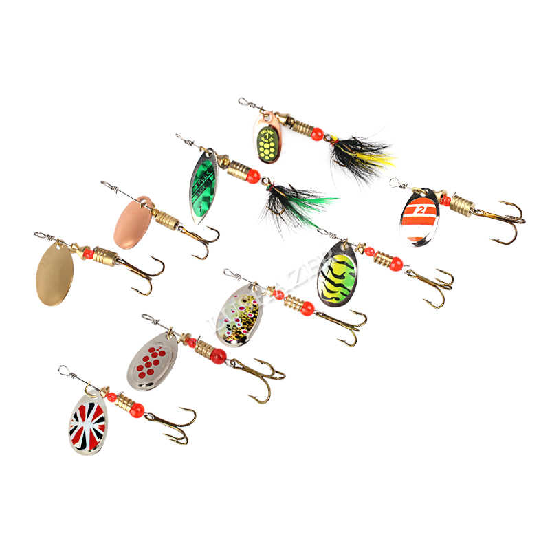 10 pièces/lot cuillère de pêche LUSHAZER leurres spinner appât 2.5-4g pêche wobbler appâts en métal spinnerbait isca artificiel gratuit avec boîte