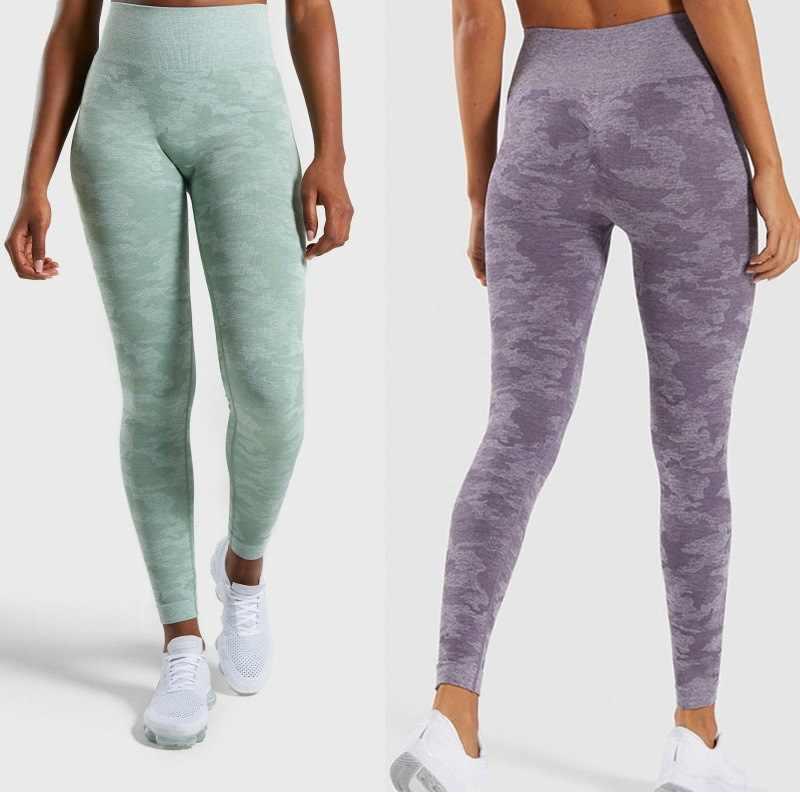 19ada283e93b42 Camo Seamless Energy Vital Leggings High Waist Sports Running Training  Tights Women Fitness Gym Pants Push