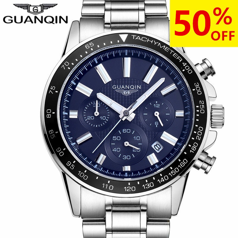 relogio masculino GUANQIN Mens Watches Top Brand Luxury Business Stainless Steel Quartz Watch Men Sport Waterproof Wristwatches migeer relogio masculino luxury business wrist watches men top brand roman numerals stainless steel quartz watch mens clock zer