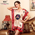 Women's Faux Silk Robe Bath Gown Nightgown Pijama Mujer Summer Sleepshirts New Style Sleepwear Printed