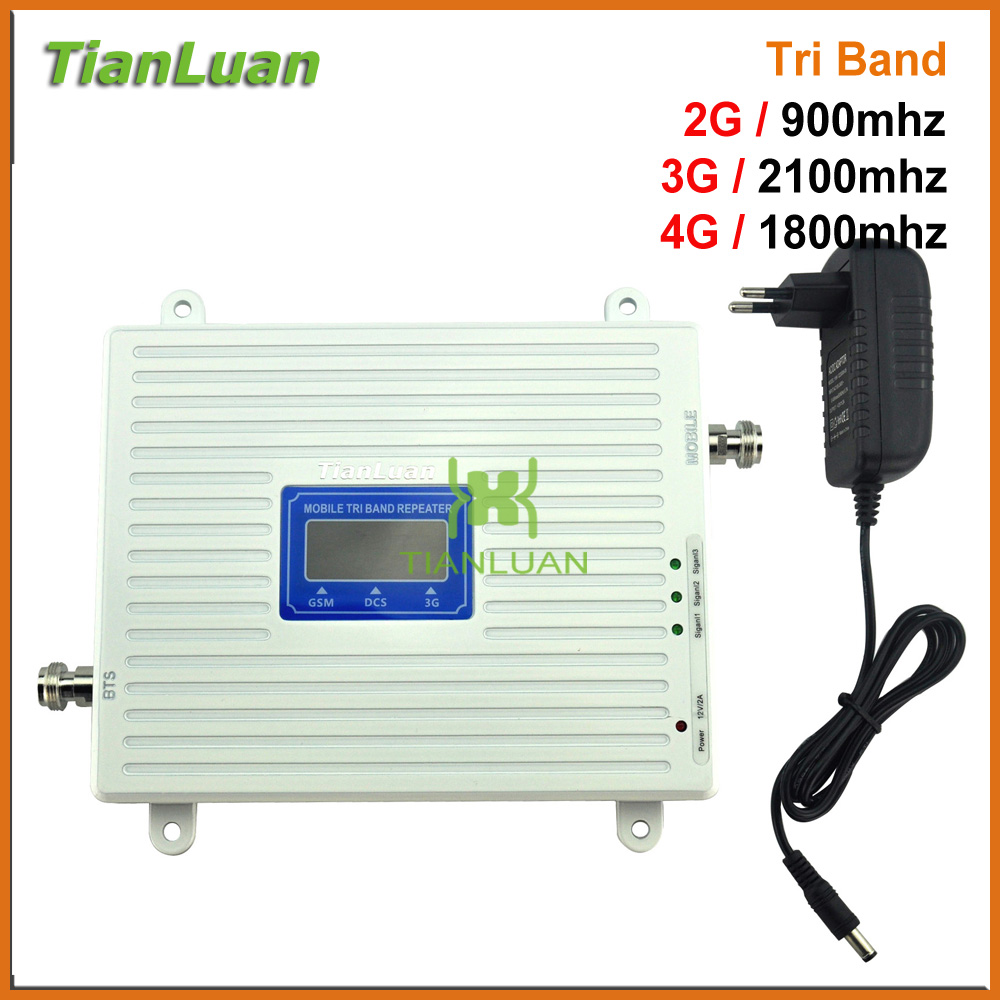 2G 3G 4G Tri band Mobile Phone Signal Booster GSM 900mhz LTE DCS 1800mhz W CDMA