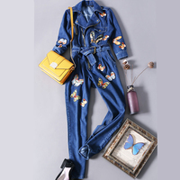 Denim Jumpsuits Women Embroidery 2018 Spring Autumn pencil Jumpsuit Rompers Pants Office washed denim overalls Female TGH67