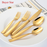 5 pcs/Set High Quality Luxury Golden Dinnerware Set Gold Plated Stainless Steel Cutlery Set Wedding Gold Knife Fork Tablespoon