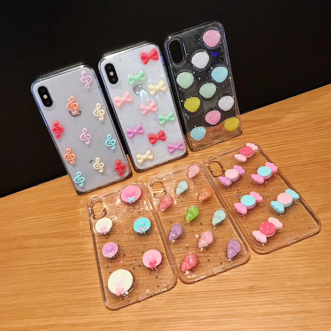 Fashion 3D Sweet Candy Phone Case For Iphone 8 7 Plus 6 6s Silicone Transparent Glitter Cases For Iphone X Xs Max Xr Soft Cover
