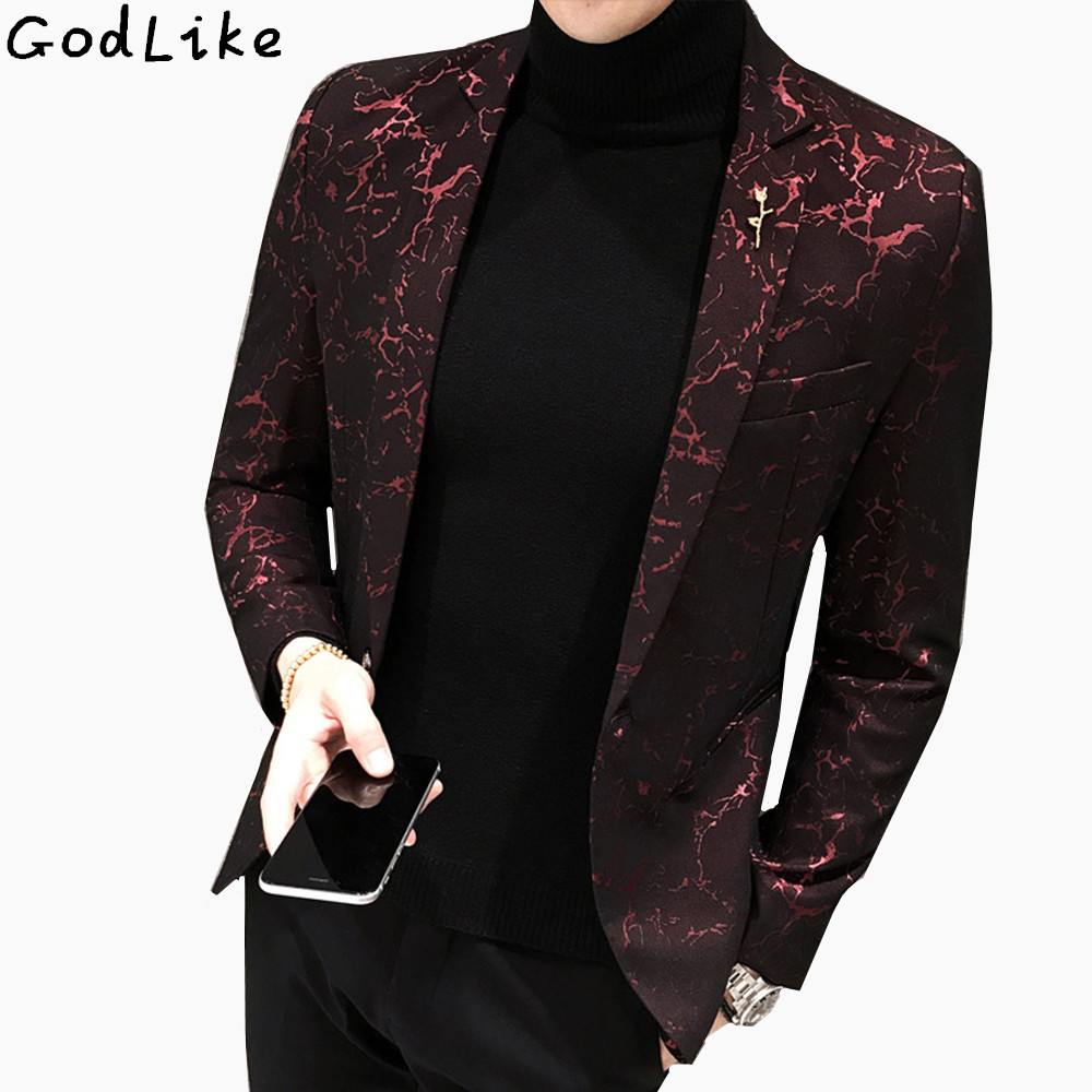 Slim bleiser masculino 2017 Winter Casual Fit Floral Suit Mens Flower Blazer Party Dress Outfit Pantalon Trendy blaser masculino