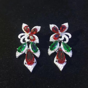 925 sterling silver with cubic zircon drop earring high quality red and green color mixed fashion women jewelry party earring