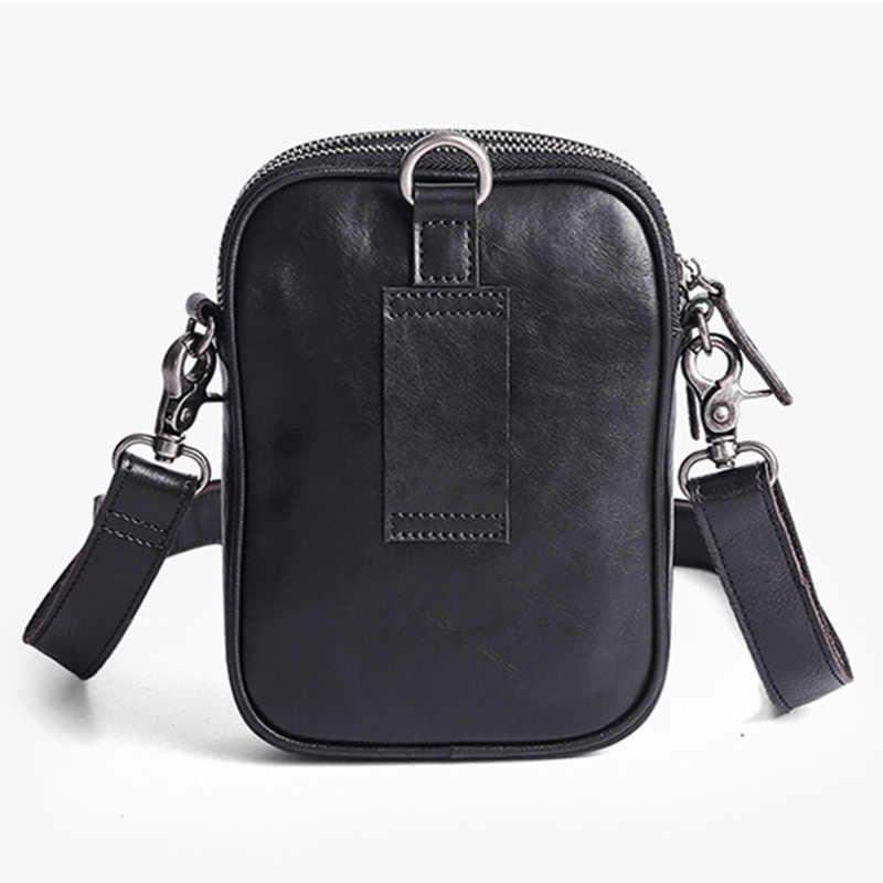 AETOO 男性斜小さなバッグ、革ミニカジュアルシングルショルダー小バッグ、人格レトロ牛革携帯電話の袋