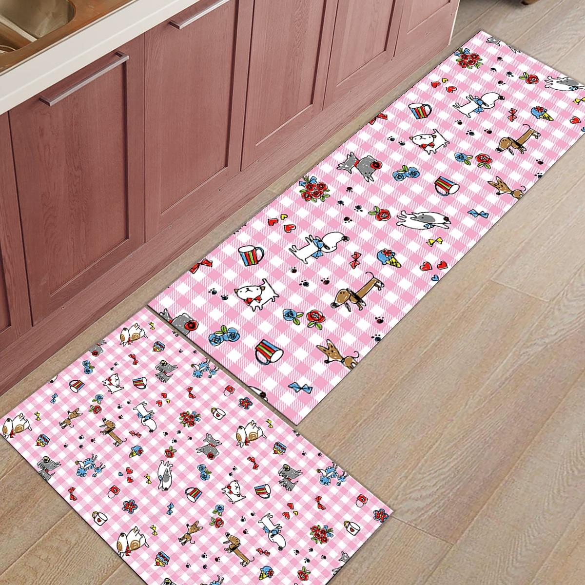 Motif de chien rose dessiné à la main tapis de cuisine 2 pièces sous un Pet eau nourriture bol paillassons pour entrée manière salle de bain accessoires ensemble