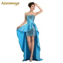 Асимметричное платье подружки невесты милое короткое спереди длинное сзади платье для выпускного вечера Королевский синий vestido de festa robe de soiree