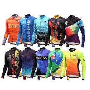 Image 1 - Мужская трикотажная рубашка MILOTO, зимняя велосипедная рубашка с длинным рукавом и длинным рукавом для езды на велосипеде, Майо, зима 2019