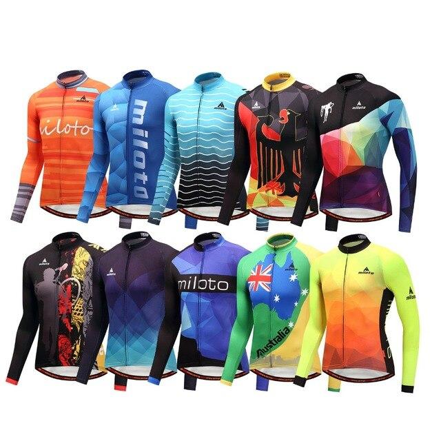 Мужская трикотажная рубашка MILOTO, зимняя велосипедная рубашка с длинным рукавом и длинным рукавом для езды на велосипеде, Майо, зима 2019