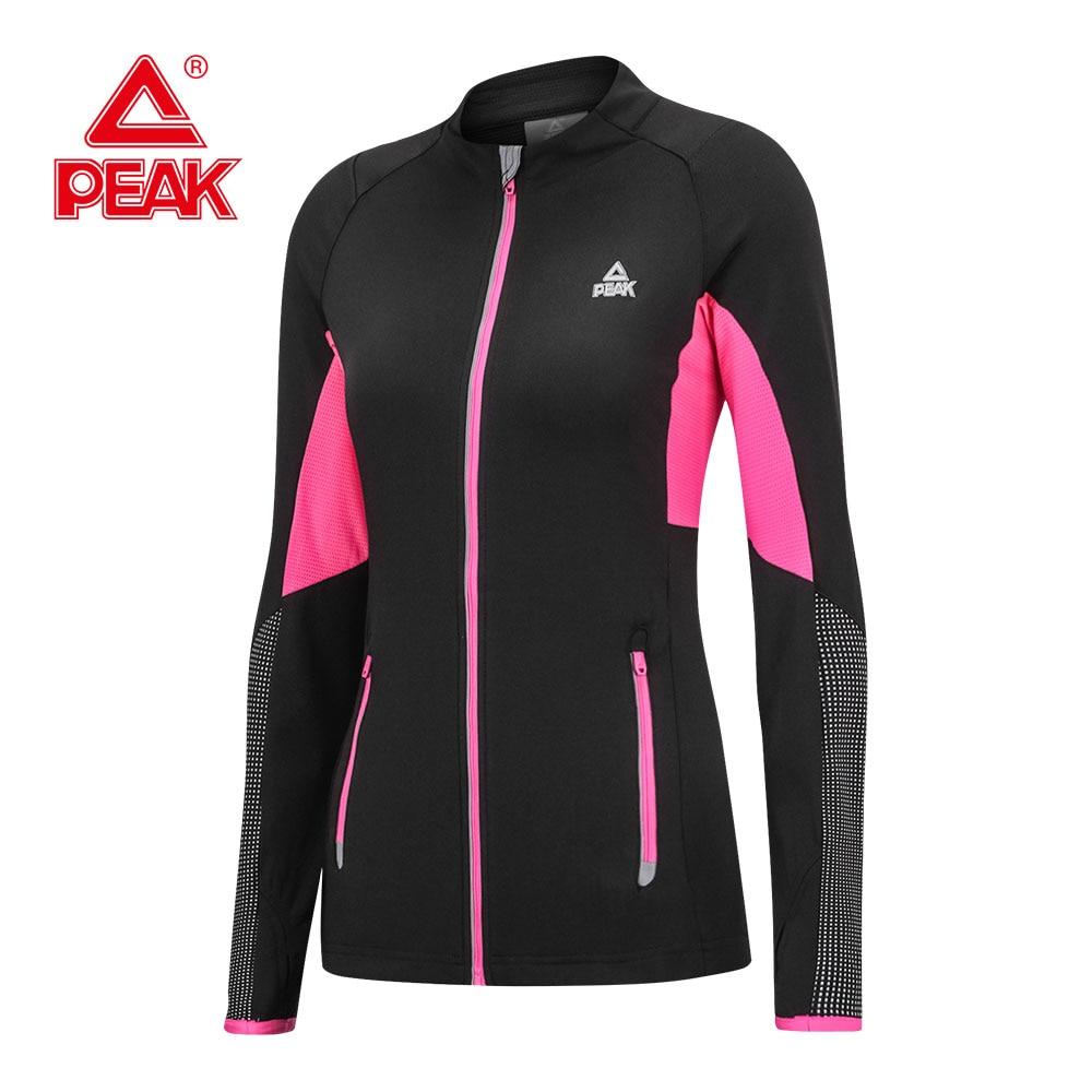цена на PEAK Running Jacket For Women Yoga Zipper Long Sleeve Women Sport Jacket Fitness Sports Breathable Reflective Outdoor Jacket