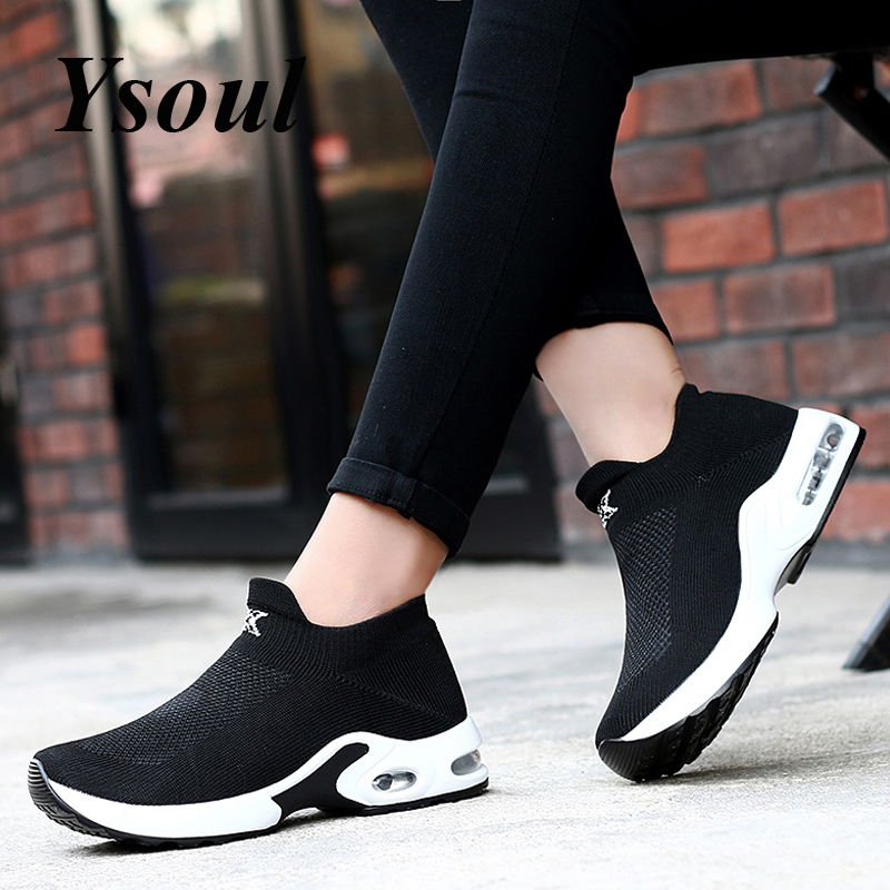 Ysoul Women Flat Shoes Sneakers 2019 Spring Fashion Mesh Slip-on Platform Shoes Lady Breathable Outd