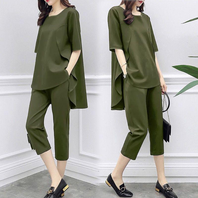 2 Piece Set Women Casual tops+pants