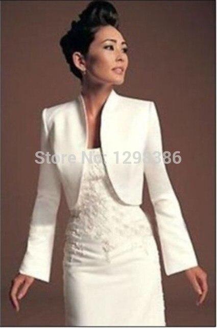 Wedding Jackets Bridal With Long Sleeves Satin White Ivory Bride Shrug Coat For Evening Party Bolero Renda