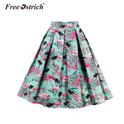 Free Ostrich Pleated Skirt 2018 Women's A Line high Waist Tulle Skirts Knee Length Flamingo Printed Aldas Jupe S40