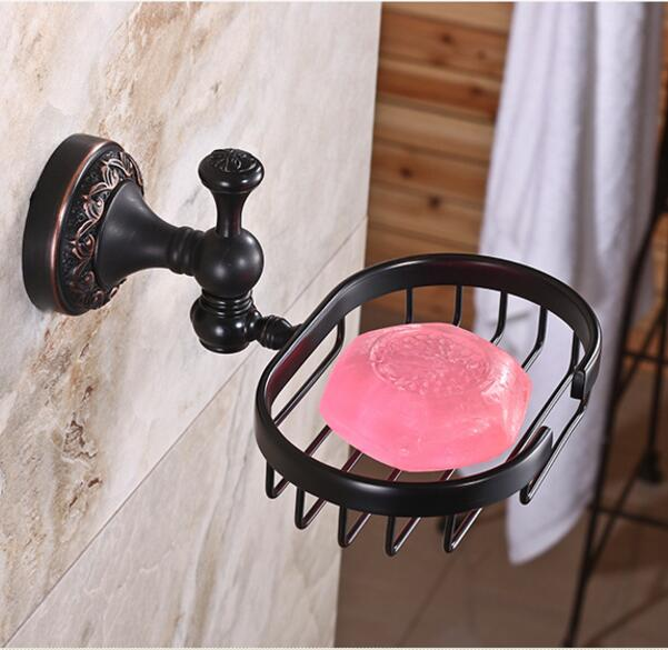 High Quality Soap Dishes Brass Soap Holder Antique Soap Case Bathroom Accessories Black Oil Brushed Bathroom Shelf european style brass black oil brushed solid brass bathroom soap holder ceramic cup soap basket bathroom accessories