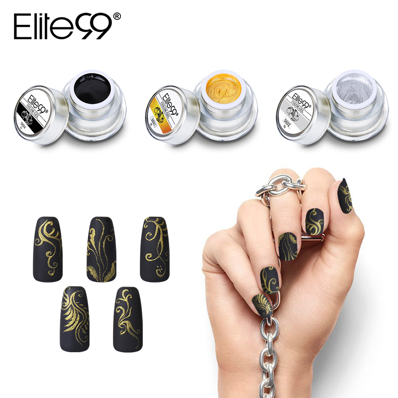 Elite99 12 Warna Cat Akrilik Gel 3D Nail Art Cat Warna Gel Menggambar Lukisan Acrylic Warna UV Gel Tip DIY Nail Art