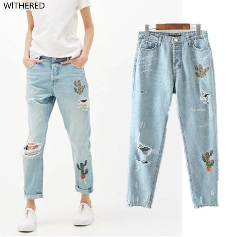 Livraison gratuite jeans femme jeans femme 2017 Reconstituant Des manières antiques personnalité Le cactus La broderie Trou en jeans