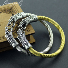 Viking Dragon Head Bracelet Bangle Vintage Punk Adjustable Opening Steel Wire Viking Bracelets For Women And Men Domineering(China)