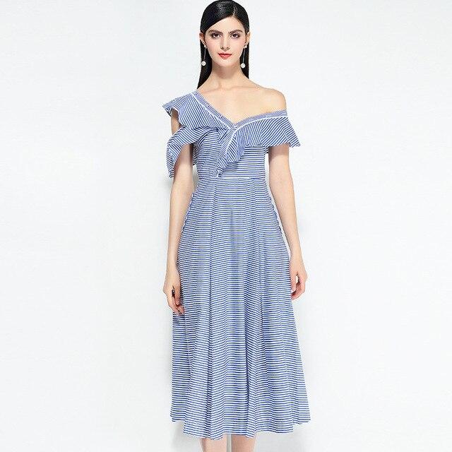 7b5dc17b91c8e Self Portrait Dress 2018 Summer Women Fashion One Shoulder Blue And White  Striped Ruffels Top Quality Cotton Branded Dresses
