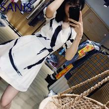 2019ZM Elegant Designer Print Dresses Women High Quality Runway Puff Sleeve V Neck Ladies Party White Dress A Line Tunic Clothes недорого