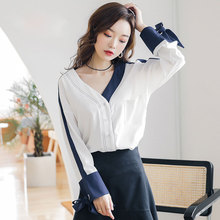 New Womens V-Neck Shirt 2019 Spring and Summer Fashion Vintage Contrast Color Full Sleeve Tops