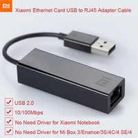 Originale Xiao Mi Usb a RJ45 Scheda Ethernet Cavo Adattatore Esterno 10/100Mbps per Mi Scatola 3 3C 3S 4 4C Se Computer Portatile Del Pc Notebook Usb2.0
