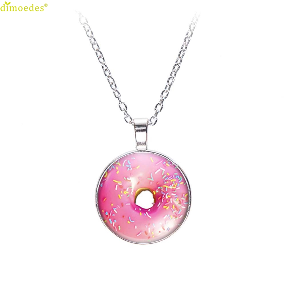 Diomedes Newest Creative Fashion Printing Sweater Chain Jewelry Glass Dome Pendant Necklace Crystal Pendant Gift