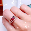 Promotion 925 silver ring 5*7mm blood red natural garnet silver ring for woman 2016 new  fashion brithday gift for girlfriend
