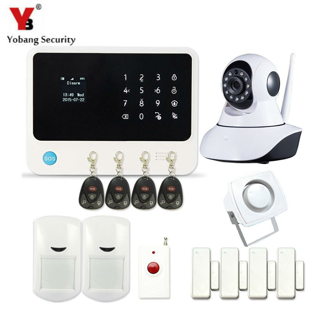 YobangSecurity Touch Screen GSM Wireless WIFI Home Alarm System APP Control G90B IP Camera PIR Sensor Door Sensor yobangsecurity wifi alarm system wireless flash siren gsm burglar alarm g90b touch keypad app pir detector door gap sensor