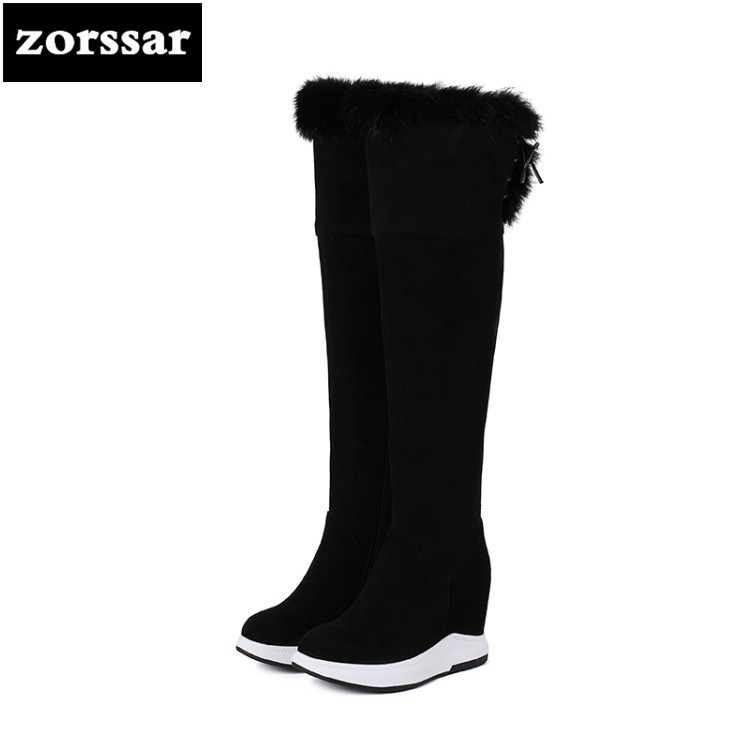 {Zorssar} 2019 Female Winter Warm thigh high Boots for women snow boots Suede Leather High Heels Over The Knee boots Size 32-40 zorssar 2019 new winter fur female snow boots fashion knee high boots suede leather women over the knee boots high heels