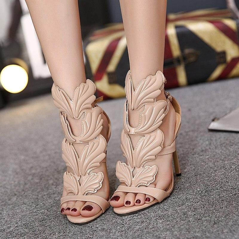 Con Correa Talón Beige Del Hojas black Bombas Zapatos Llama Partido gold Diseño Alas Oro Mujer Alto Señora Stilettos Tobillo Xingdeng Recortes Gladiador PIHOYY
