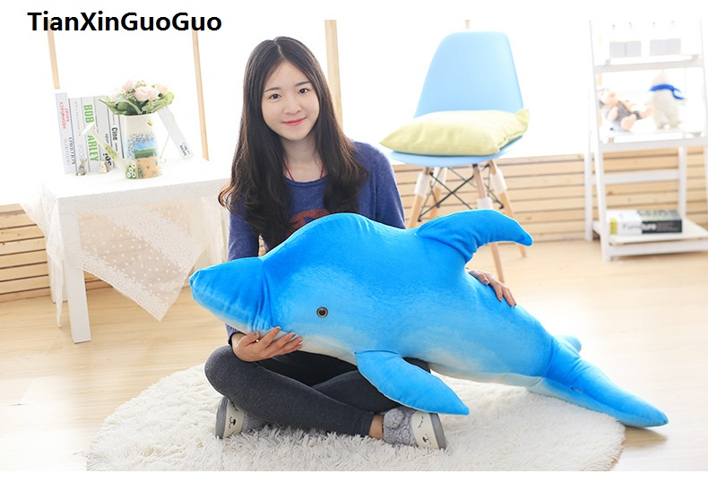 large <font><b>85cm</b></font> cartoon blue dolphin plush toy soft <font><b>doll</b></font> throw pillow birthday gift w2323 image