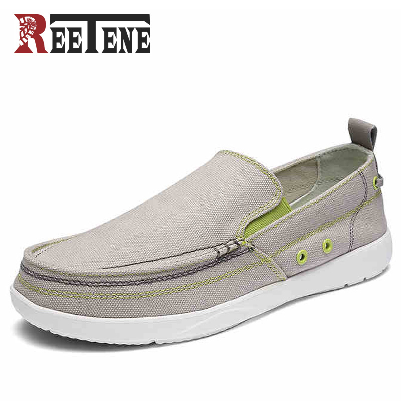 REETENE 2017 New Men Casual Shoes Canvas Slip-On Men Driving Shoes High Quality Men Flats Shoes Luxury Brand Men Leisure Shoes reetene 2017 summer fashion men casual shoes breathable canvas shoes men flats slip on men shoes casual zapatos hombre 37 48