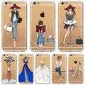 Para iphone 7 6 6 s 5 5S se 7 plus 6 splus 4S telefone case capa moda vestido da menina de compra e transparente de silicone macio saco do telefone móvel