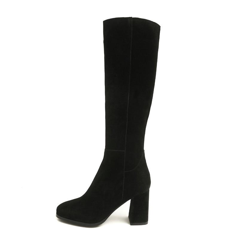 Daim Mode À marron gris Bottes Automne Noir Noir Genou Femmes Glissière Dames Rond Haute Bout Gris Talon Hiver En Chaussures Épais Haut De 5ALRj34