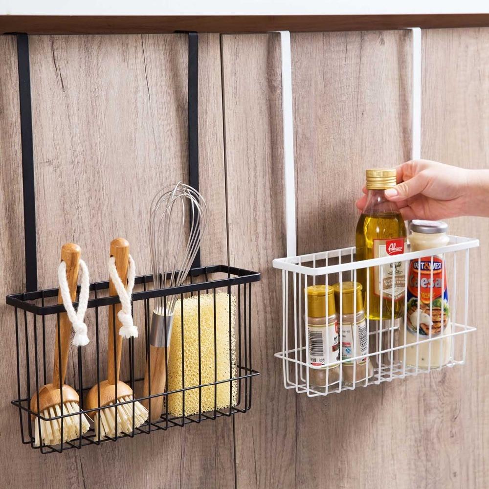 Durable Bathroom Over Cabinet Door Hanging Storage Basket Holder