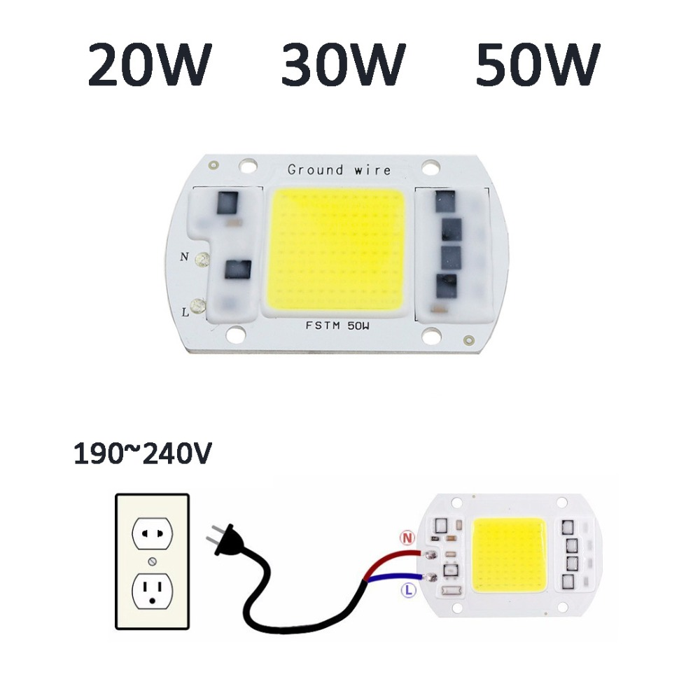 AC220V 20W 30W 50W LED COB Chip Light Lamp no need driver Highlighted light source DIY C ...