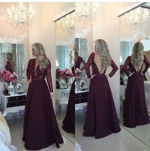 Vestidos Longo Prom Dress with long Sleeves Burgundy Sequins Beads Evening See Though Back Formal dress Party Gowns m63