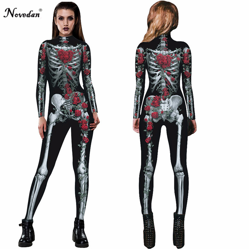 bca899b3a99cd 2018 New Women Sexy Bodysuits Halloween Costumes For Women 3D Skull Rose  Printing Jumpsuits Scary Skeleton Macacao Feminino on Aliexpress.com