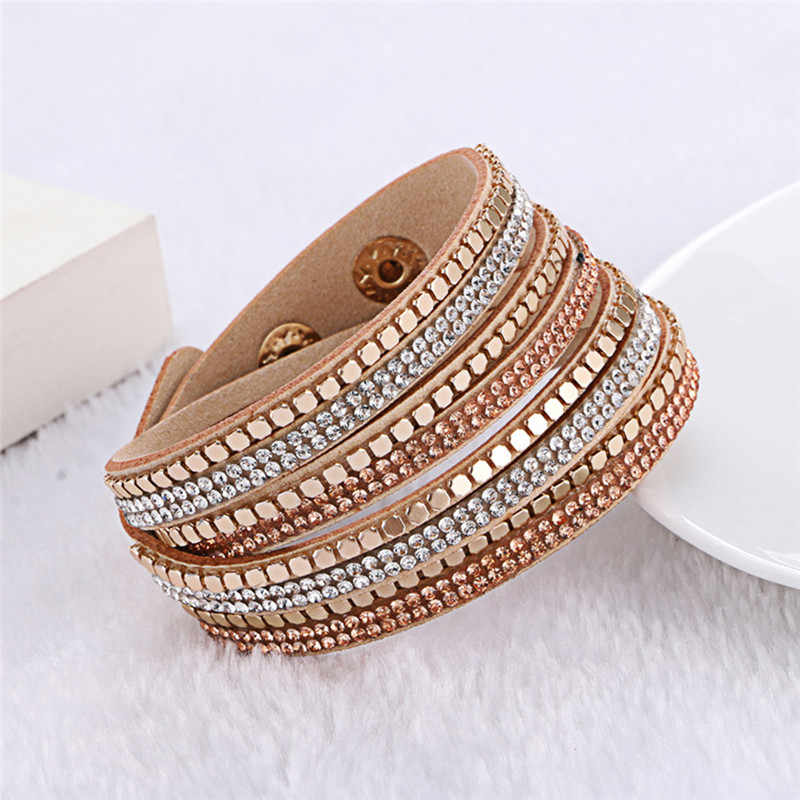 Kejialai Leather Flannelette Double Circle Hot Simulated Wrap Bracelet With Crystal For Women Ethnic Charm Rope Chain KJL032