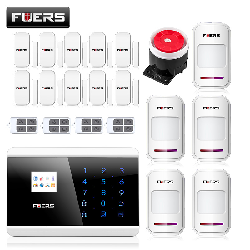 Fuers  Android IOS APP 433Mhz Sensor Dual-network GSM PSTN Call LCD Smart Display+Touch Keypad Home Burglar Security Alarm android ios app sensor dual network gsm pstn 2g sim call lcd smart dislay touch keypad home burglar security alarm
